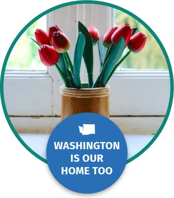 A vase with flowers text reads Washington is our home too