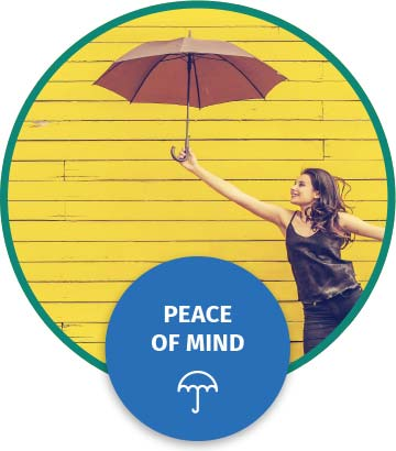 Woman with umbrella text reads peace of mind sign