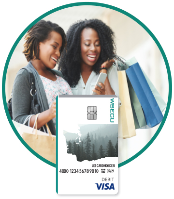 Two women with shopping bags and WSECU Debit Card